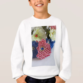 Red White and Blue Patriotic American Flag Bouquet Sweatshirt
