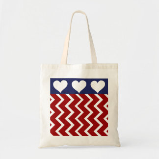 Red White and Blue Patriotic Heart Tote Bag