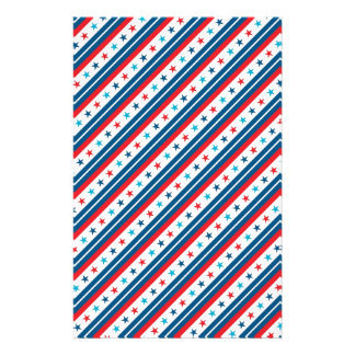 Red White and Blue Patriotic Star Stationery