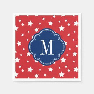 Red White and Blue Patriotic Stars Monogram Disposable Serviette