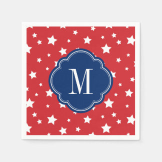Red White and Blue Patriotic Stars Monogram Paper Napkin