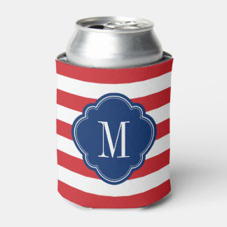 Red White and Blue Patriotic Stripes Monogram Can Cooler