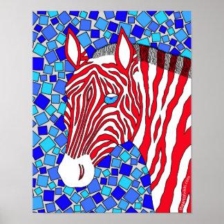 Red White And Blue Patriotic Zebra 11 x 14 Print