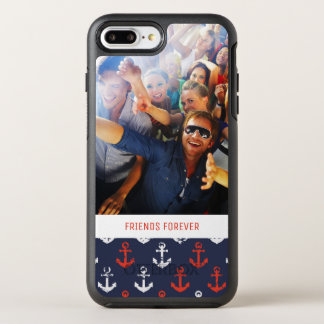 Red White And Blue Pattern | Your Photo & Text OtterBox Symmetry iPhone 8 Plus/7 Plus Case