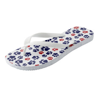 Red, White, and Blue Paw Print-Pattern Flip-Flops Thongs