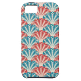red white and blue peacock pattern iPhone 5 cases
