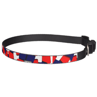 Red white and blue pet collar