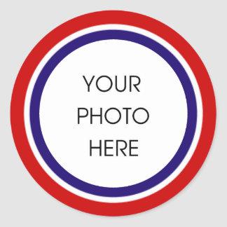 Red White and Blue Photo Frame Round Sticker