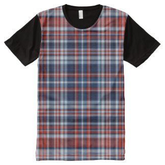 Red White and Blue Plaid All-Over Print T-Shirt