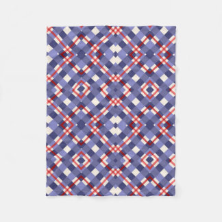Red, White and Blue Plaid Fleece Blanket