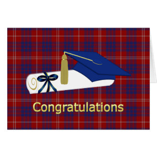 Red, White, and Blue Plaid Graduation Card