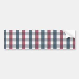Red White and Blue Plaid Pattern Bumper Sticker