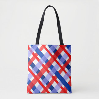red white and blue plaid pattern tote bag