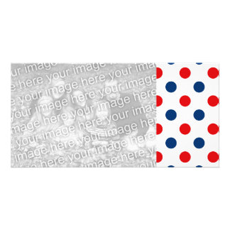 Red White and Blue Polka Dots Customised Photo Card