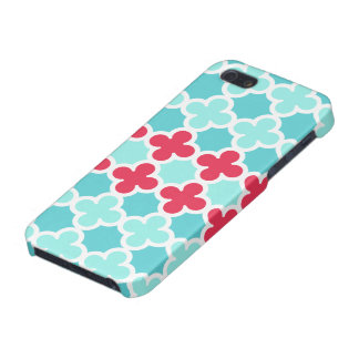 Red White and Blue Quatrefoil Pattern iPhone 5/5S Covers