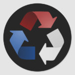 Red, White and Blue Recycling Symbol Stickers