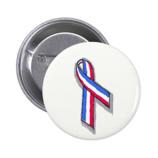 Red White and Blue Ribbon. 6 Cm Round Badge