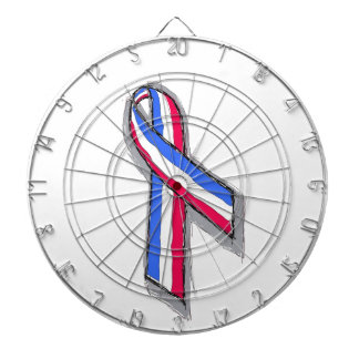 Red White and Blue Ribbon Dartboard With Darts