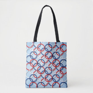 Red white and blue ring patterns tote bag