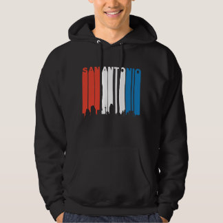Red White And Blue San Antonio Texas Skyline Hoodie