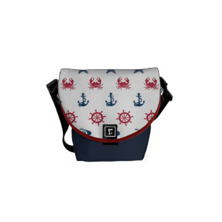 Red White And Blue Sea Symbol Pattern Courier Bags