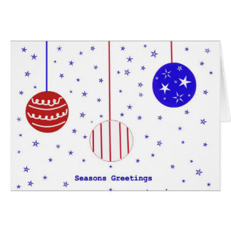 Red, White and Blue Seasons Greetings Card