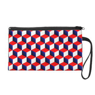 Red White and Blue Shaded 3D Look Cubes Wristlet Purses