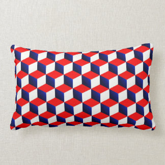 Red White and Blue Shaded 3D Look Cubes Cushion