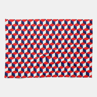Red White and Blue Shaded 3D Look Cubes Hand Towel