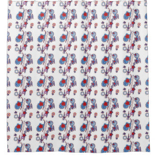 Red White and Blue Shooting Stars Shower Curtain