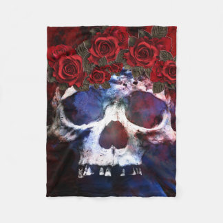 Red, White, and Blue Skull Fleece Blanket