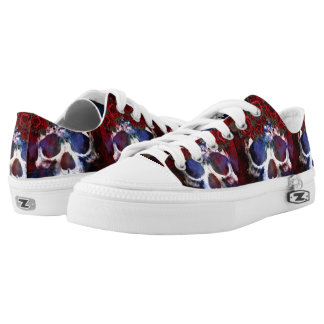 Red, White, and Blue Skull Low Tops