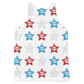 Red White and Blue Skull Stars All-Over Print Tank Top