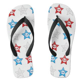 Red White and Blue Skull Stars Thongs