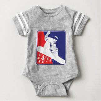 Red-White-and-Blue-Snow-Boa Baby Bodysuit