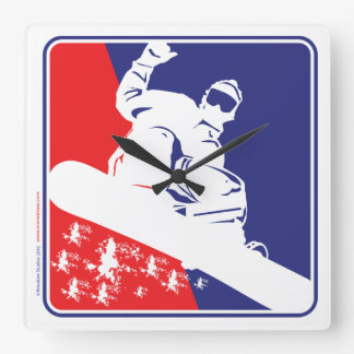 Red-White-and-Blue-Snow-Boa Square Wall Clock