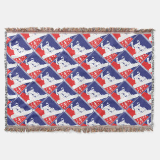 Red-White-and-Blue-Snow-Boa Throw Blanket