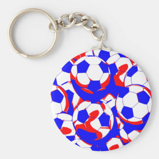 Red White and Blue Soccer Balls Abstract Basic Round Button Key Ring