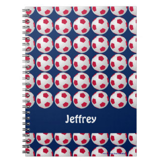 Red, White, and Blue Soccer Personalized Notebook
