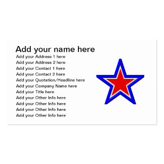 Red, white and blue stacked stars pack of standard business cards