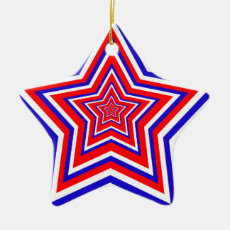 Red White and Blue Star Ceramic Star Decoration