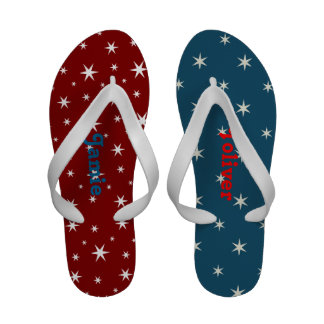 Red White and Blue Star Flip Flops
