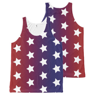 Red, White and Blue Star Pattern All-Over Print Tank Top