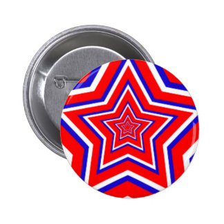 Red White and Blue Star Pinback Button