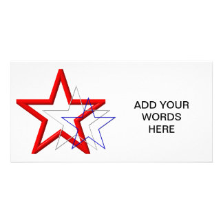 Red, white and blue star trails customized photo card