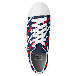 Red White and blue stars and stripes background Low Tops