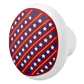 Red White and Blue Stars and Stripes Ceramic Knob