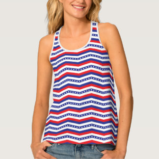 Red White and Blue Stars and Stripes Chevron Tank Top