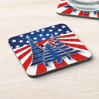 Red White and Blue Stars and Stripes Holiday Theme Coaster
