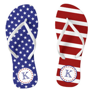 Red White and Blue Stars and Stripes Monogram Thongs